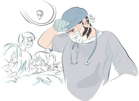 surgeon mask: surgeon in the mask and uniform wipes his forehead after surgery tired. In the background, a sketch of the operation. The doctor finished the operation