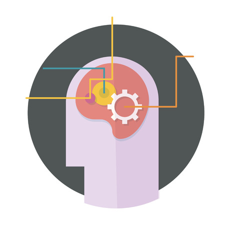 inspiration education: head with gear and lines icon. Concept of ideas inspiration,innovation, invention, effective thinking, knowledge and education symbol