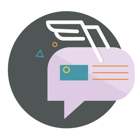 abstractions: character dialogue combined with the image of the envelope with the white wings of the lines, with abstractions,flat icons, web element infographics Illustration
