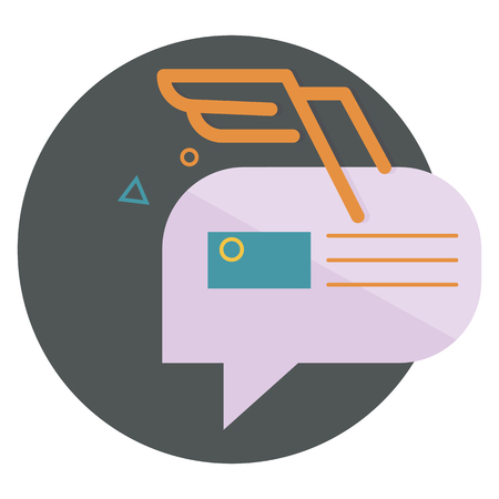 abstractions: character dialogue combined with the image of the envelope with the orange wings of the lines, with abstractions,flat icons, web element infographics
