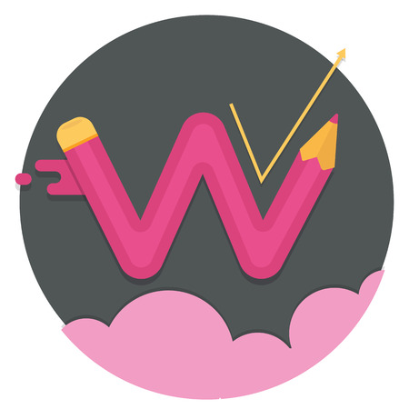 swelling: red zigzag curved pencil line with swelling and growth on against the black circle and pink clouds.flat icons, web element infographics