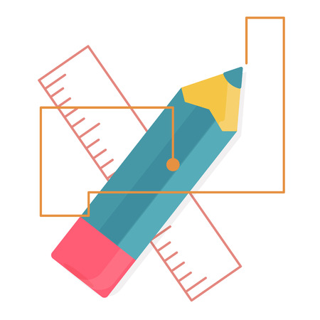 blue pencil and ruler crosswise with lines,Web analytics or promotion flat icons,element infographics Illustration