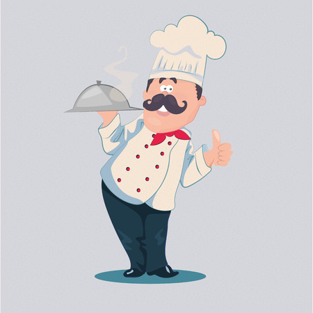 white uniform: Chef vector cartoon character with a mustache in a white uniform holding a cooked hot dish Illustration