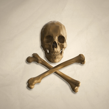 toxicity: yellow human skull and crossbones on the background of old crumpled paper with the addition of shadows. 3d illustration Stock Photo