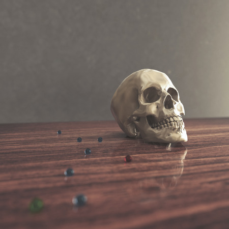 chronicle: skull lies on red old wooden table with colored balls. Realistic background in dark colors. 3d illustration