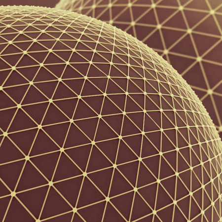 Gran esfera sobre la que una malla de oro. la comunicación global neta conectar. Concepto de tecnología de la ciencia. Resumen de fondo o fondos de escritorio. 3d ilustración Foto de archivo