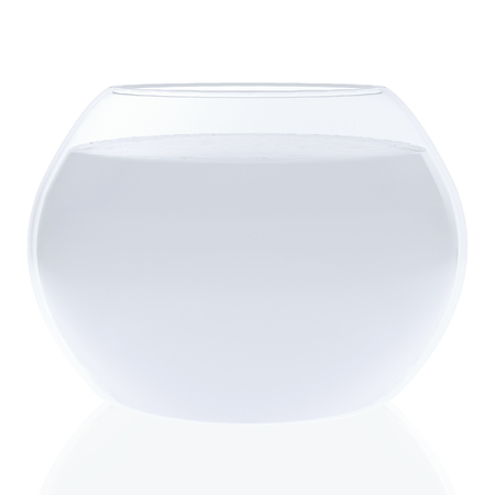 gold fish bowl: 3d aquarium with water,on a white background with reflections. 3d redering. 3d illustration