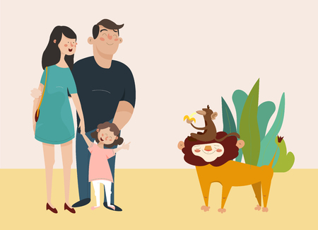 children s vector illustration. Young family looking at the lion in the zoo