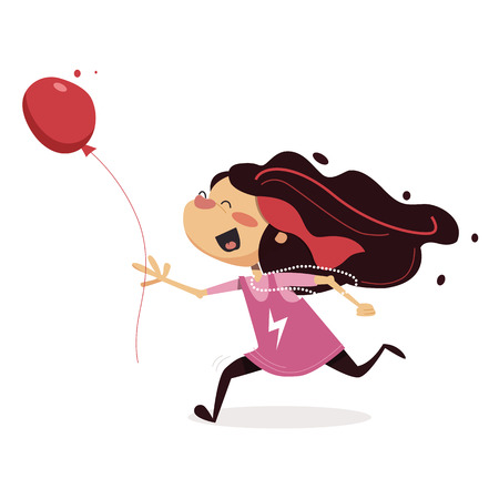 children s vector illustration. Little girl running, holding a balloon in the hands and terribly happy on white background.