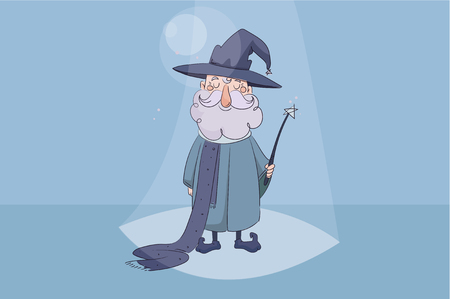 children s vector illustration. Good wizard holding a magic wand in his hand and smiling on blue background Illustration
