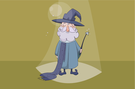 children s vector illustration. Good wizard holding a magic wand in his hand and smiling on yellow background Illustration