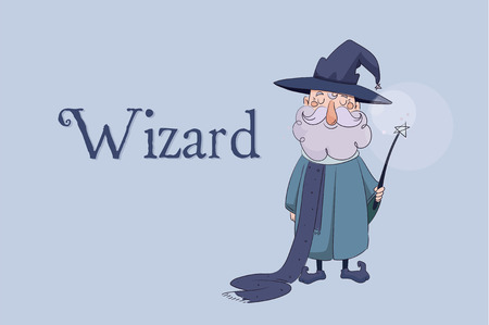 children s vector illustration. Good wizard holding a magic wand in his hands and smiling with the words