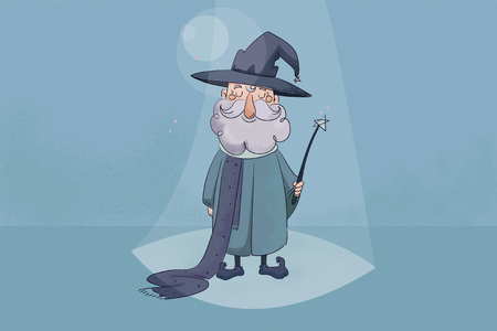 childrens  illustration with texture. Good wizard holding a magic wand in his hands and smiling. Stock Photo