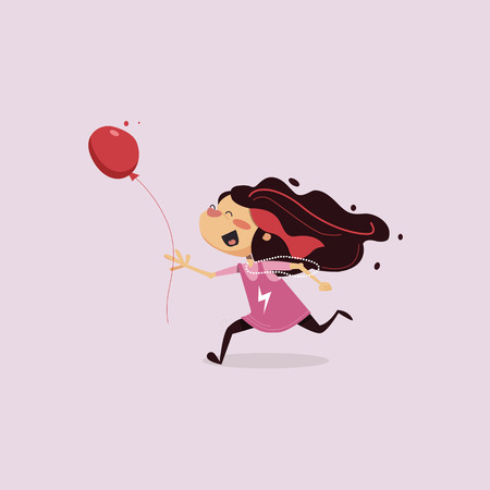 children s vector illustration. Little girl running, holding a balloon in the hands and terribly happy