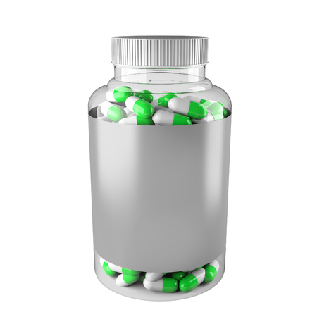 vitamin packaging mockup. The drug in a transparent box on a white background. 3d rendering