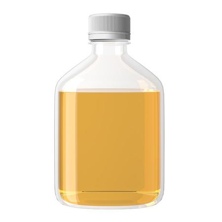 jarra de cerveza: mockup de la botella de cristal. Botella de vidrio realista con lliquid aislado en fondo. Imagen de representación 3d