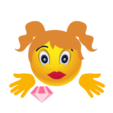 eyes are closed: Girl vector smile character. Emoji fun ball Illustration