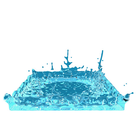 square water splash on white background. Abstract 3d rendering illustration Stock Photo