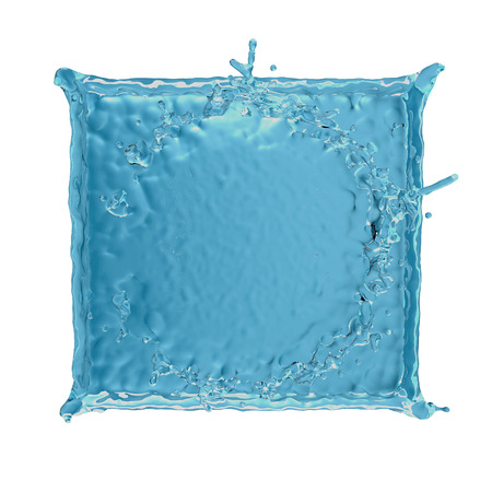 square water splash on white background. Abstract 3d rendering illustration 写真素材