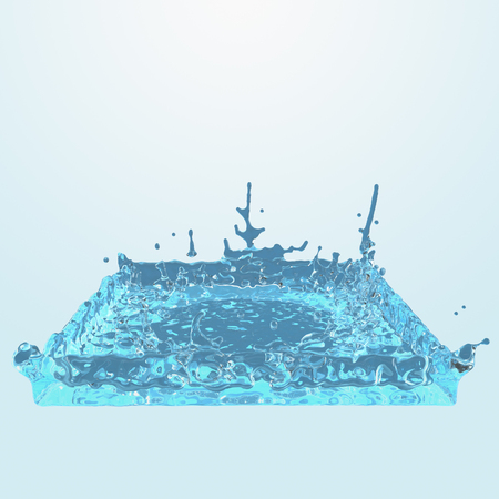 square water splash. Abstract 3d rendering illustration