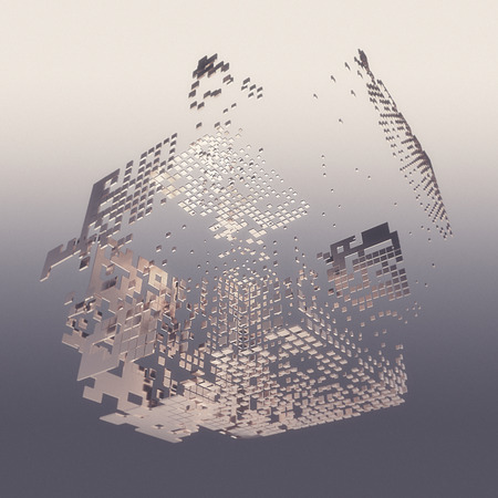 Abstract composition from white 3d cubes with shadows on grey background. 3d rendering