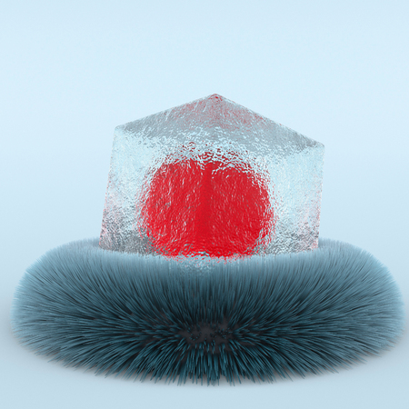 3d creative illustration abtract ice cube on fur minimalistic . 3d rendering