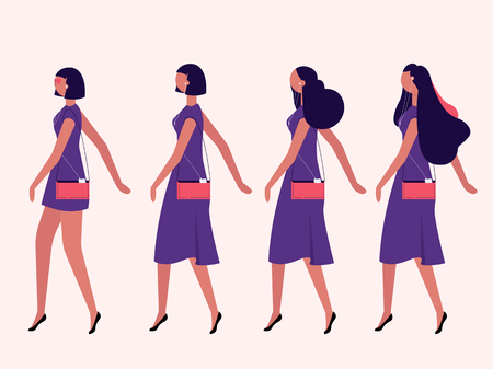 Ladies walking isolated on background vector set.  イラスト・ベクター素材