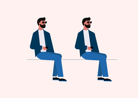 modern guy sits looking away vector illustration isolated