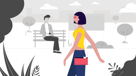 A modern girl walks through the park, a guy sitting on a bench looks at her creative vector illustration.