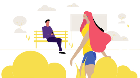 a modern girl walks through the park, a guy sitting on a bench looks at her creative vector illustration Çizim