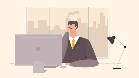 Businessman working at office table flat design style vector illustration of cartoon big boss with work space, table and computer with big window.  イラスト・ベクター素材