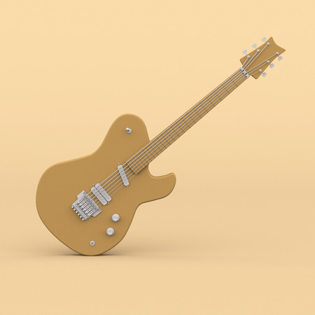 yellow guitar. Minimal abstract art. Surreal musical creative concept. 3d rendering