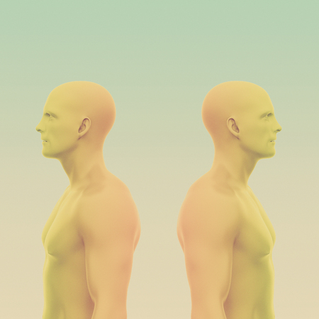 Two men back to back without clothing to the waist. abstract minimalist art. communication concept. 3d rendering illustration