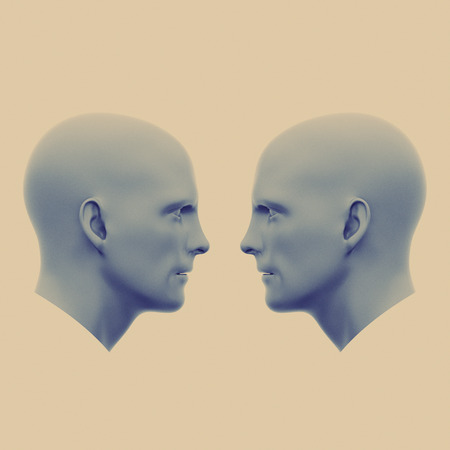 two male heads facing each other. Minimalistic abstract art. Communication concepts. 3d rendering illustration