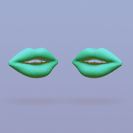 two lips face each other abstract minimalist art. communication concept. 3d rendering illustration