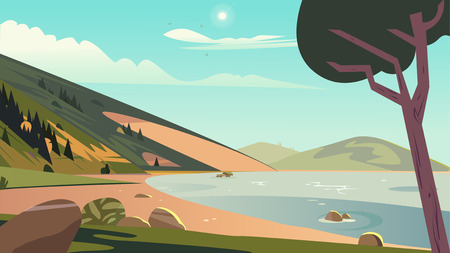 landscape summer scene. Nature environment with sea mountain and sky. Vector illustration