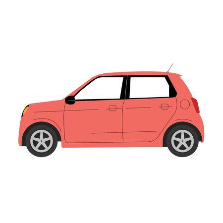 Red mini Car on white