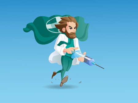 syringe: A illustration with an image of the running doctor-hero holding the main therapeutic weapon in his hands - a syringe with a healing injection.