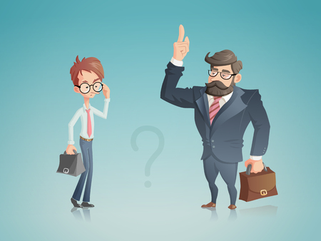 A illustration with two businessmen shown in a cartoon style. A successful one tells his counterpart how to achieve success in his business. These two characters can be used in the context of a teacher with a student or a director and his subordinate. Illustration