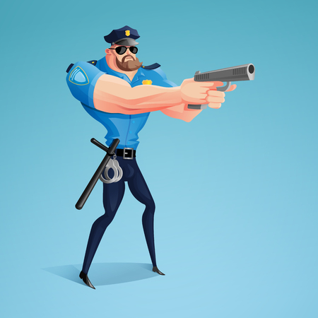An American policeman is aiming his gun at the alleged offender. A modern design of the character. A vector illustration. Illustration
