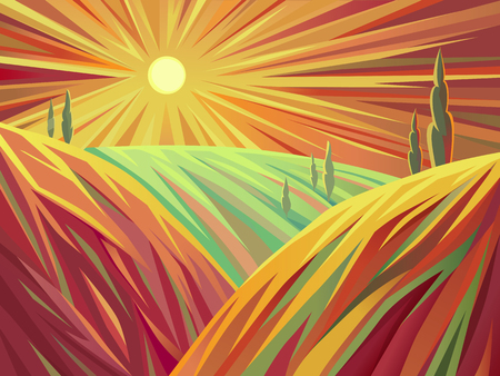 A stylized illustration of landscape in the plains at sunset. Implemented in a stylized art, which is expressed through a specific lines and color vision.