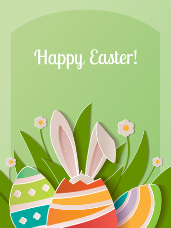 Happy Easter greeting card. A realistic vector image that simulates paper. Ilustração