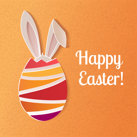 Creative design of a colorful Happy Easter greeting card. A realistic vector image that simulates paper.