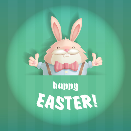light backround: Happy Easter greeting card with a hare. The hare is depicted in a round, stylized under the light of the stage spotlight.