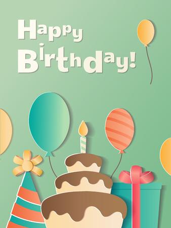 Happy Birthday greeting card. A realistic image that simulates paper. Ilustração