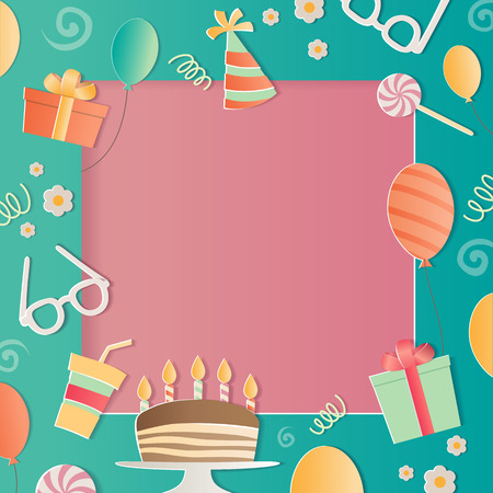 Happy Birthday photo frame. A realistic image that simulates paper.