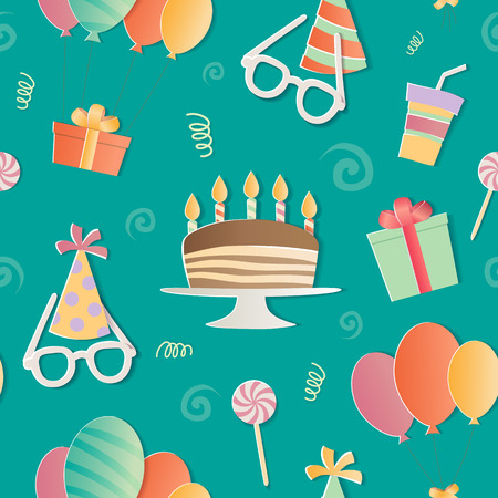 Happy Birthday seamless pattern. A realistic image that simulates paper.