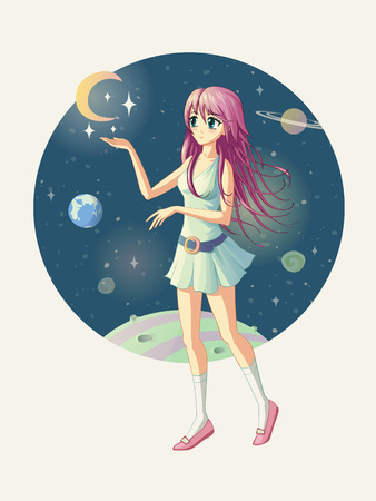 Vector illustration of the anime girl against the background of space, where the stars are near her hand.