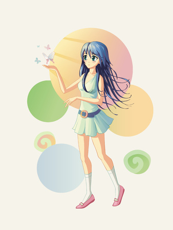 Vector illustration of the anime girl, where the butterflies are fly near her hand. If it is need, the batterflies could be removed, so the girls could be used as a pointer for any text or object