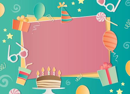 Happy Birthday photo frame. A realistic image that simulates paper. Aspect ratio photography 3:2. Ilustração